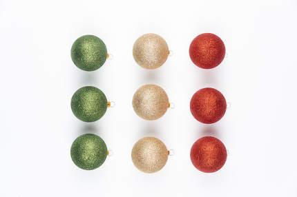 Christmas balls isolated on white background.
