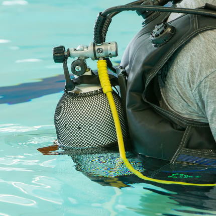 Close-up of a scuba diver