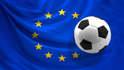 flag of Europe and ball background 3d rendering