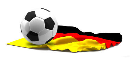 Flag of Germany and football soccer ball. 3d rendering isolated