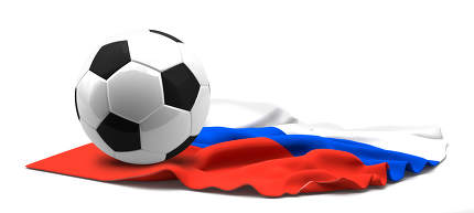 Flag of Russia and football soccer ball. 3d rendering isolated