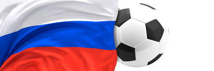flag of Russia and soccer football ball