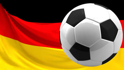 football ball over german flag. 3d rendering