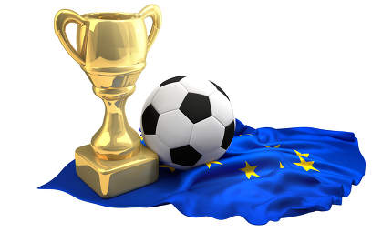 football trophy and european flag with ball 3d rendering