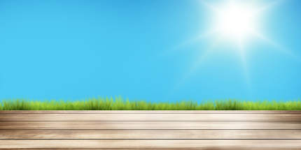 free download: sunny sky and green grass wooden floor background. 3d rendering