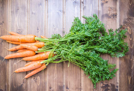 Fresh carrots over  wooden table from ecological farming