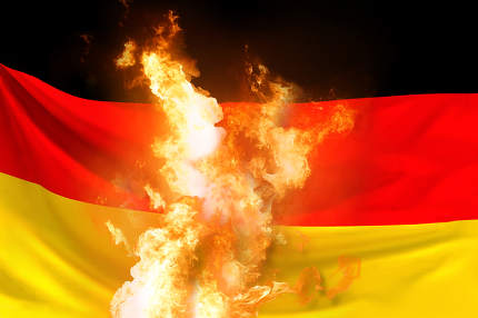 Germany flag with fire and flames 3d rendering