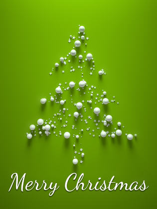 green merry christmas tree 3d illustration