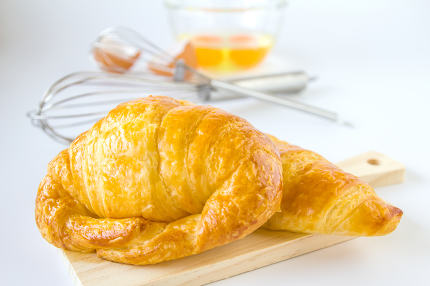Homemade breads or bun on white background, croissant puff , bre