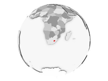 Lesotho on grey globe isolated