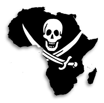 Map of Africa filled with a pirate flag