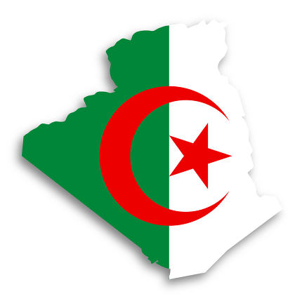 Map of Algeria filled with flag