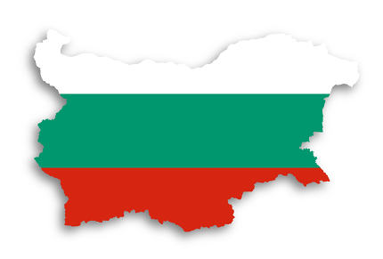 Map of Bulgaria filled with flag