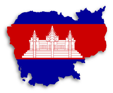 Map of Cambodia filled with flag