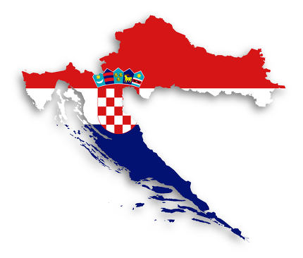 Map of Croatia filled with flag