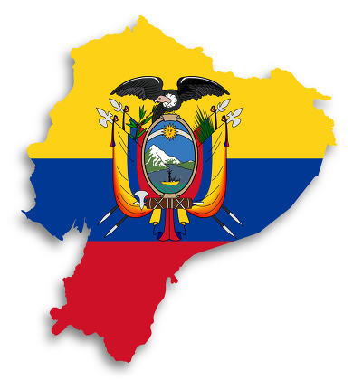 Map of Ecuador filled with flag