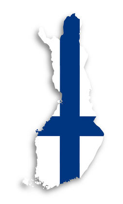 Map of Finland filled with flag