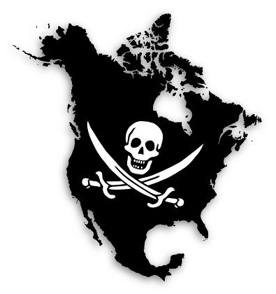 Map of North America filled with a pirate flag