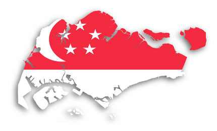 Map of Singapore filled with flag