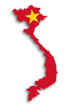 Map of Vietnam filled with flag
