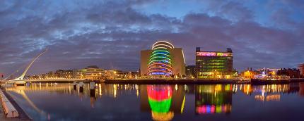 Samuel Beckett Bridge and the river Liffey in Dublin