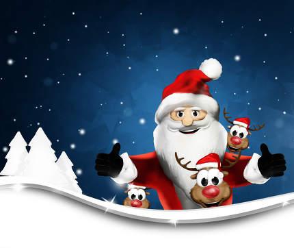 Santa Claus and Reindeers winter landscape background 3d renderi