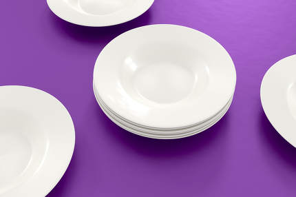 some plates on the table 3d rendering
