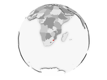 Swaziland on grey globe isolated