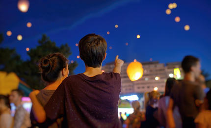 Teens watching paper flying lanterns