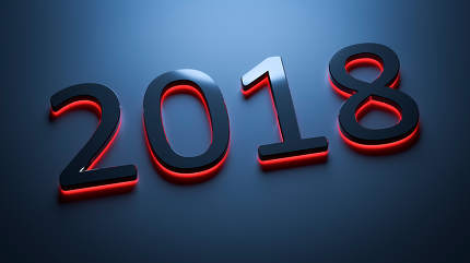 the number 2018 for new year holidays 3d rendering