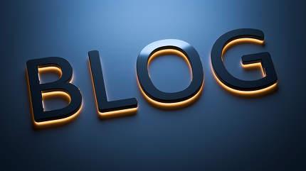 the word blog in neon lights 3d rendering