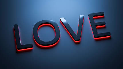 the word love in neon lights