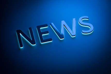 the word news with blue light 3d rendering