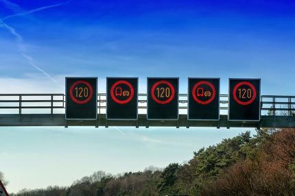 Traffic control, speed restrictions traffic warning.
