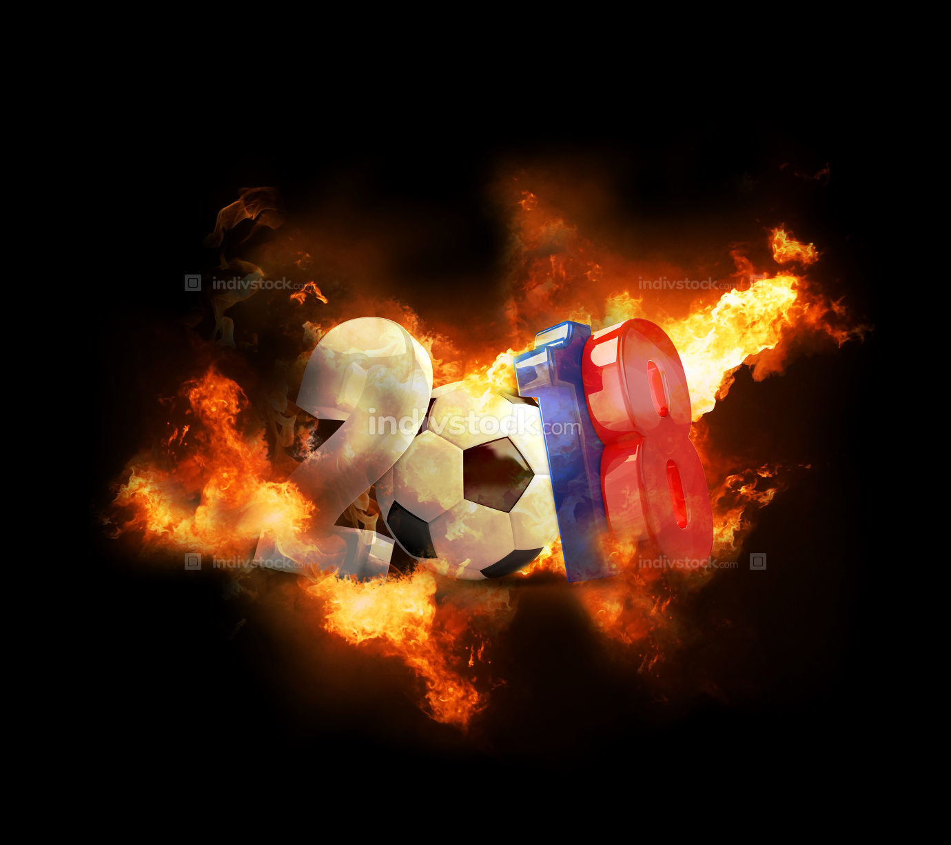 2018 soccer football 3d rendering symbol with fire and flames
