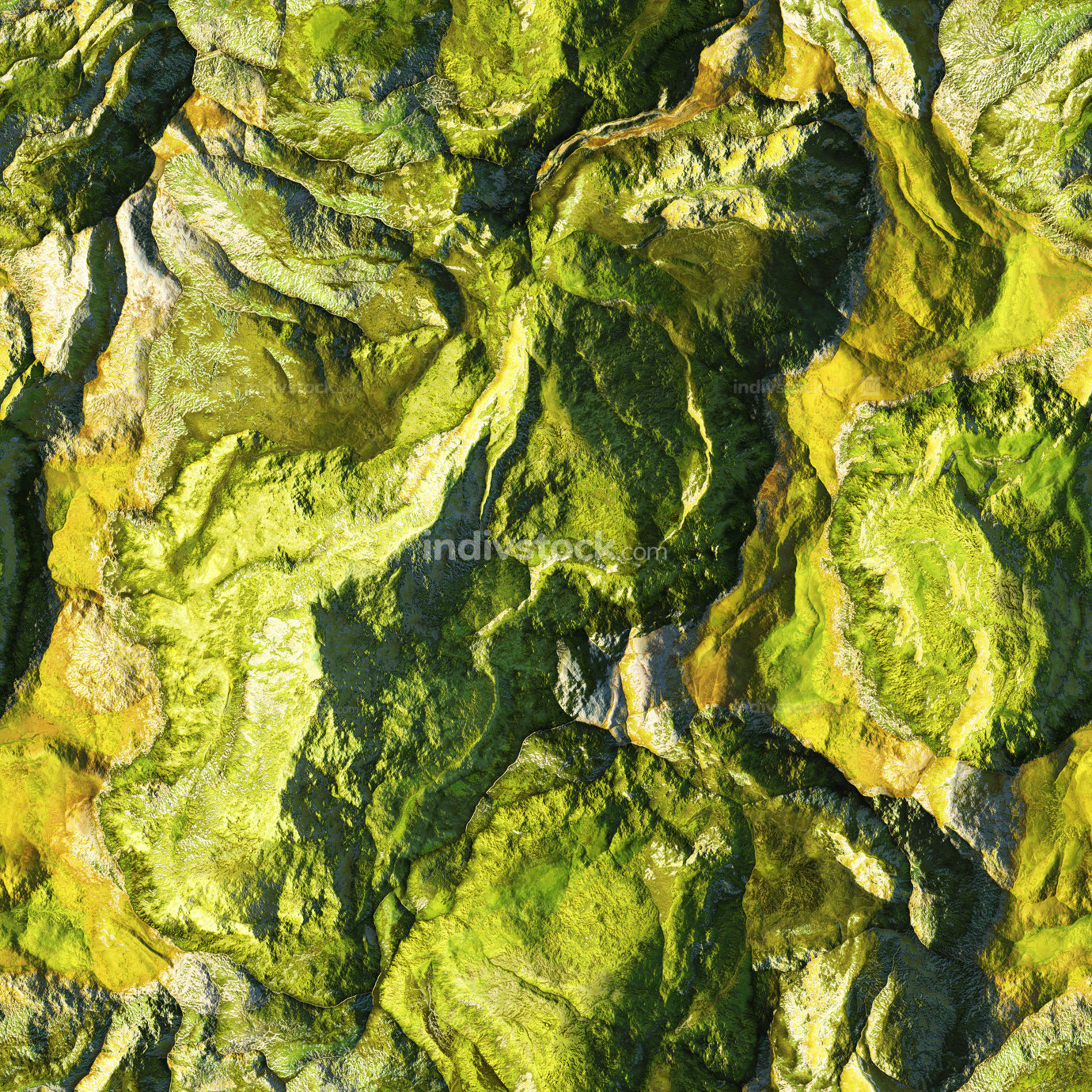 3d illustration aerial view of a wild landscape seamless