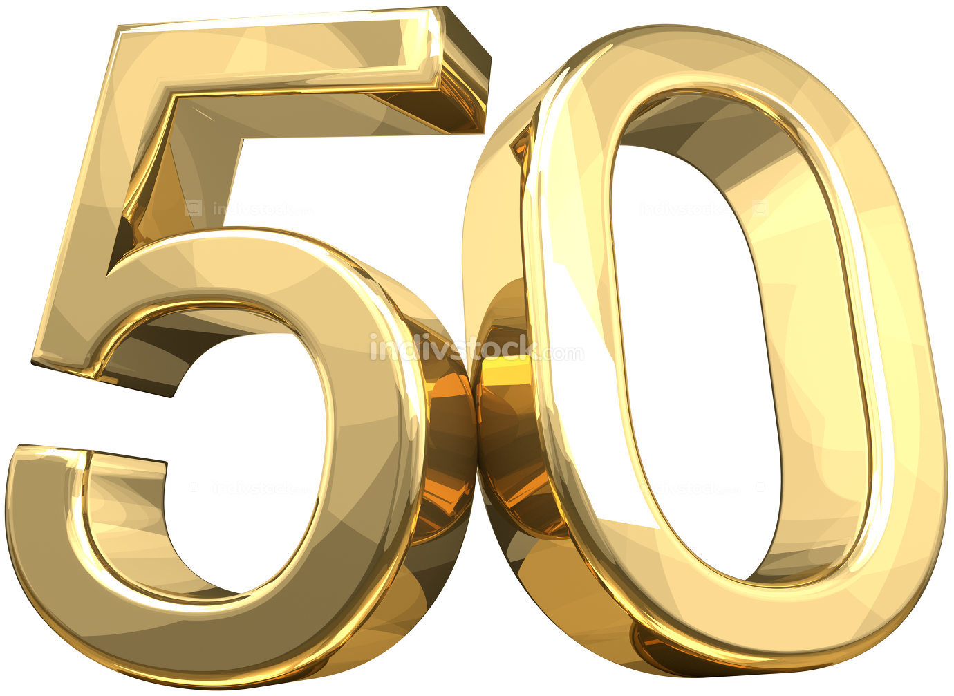 50 golden number isolated 3d rendering