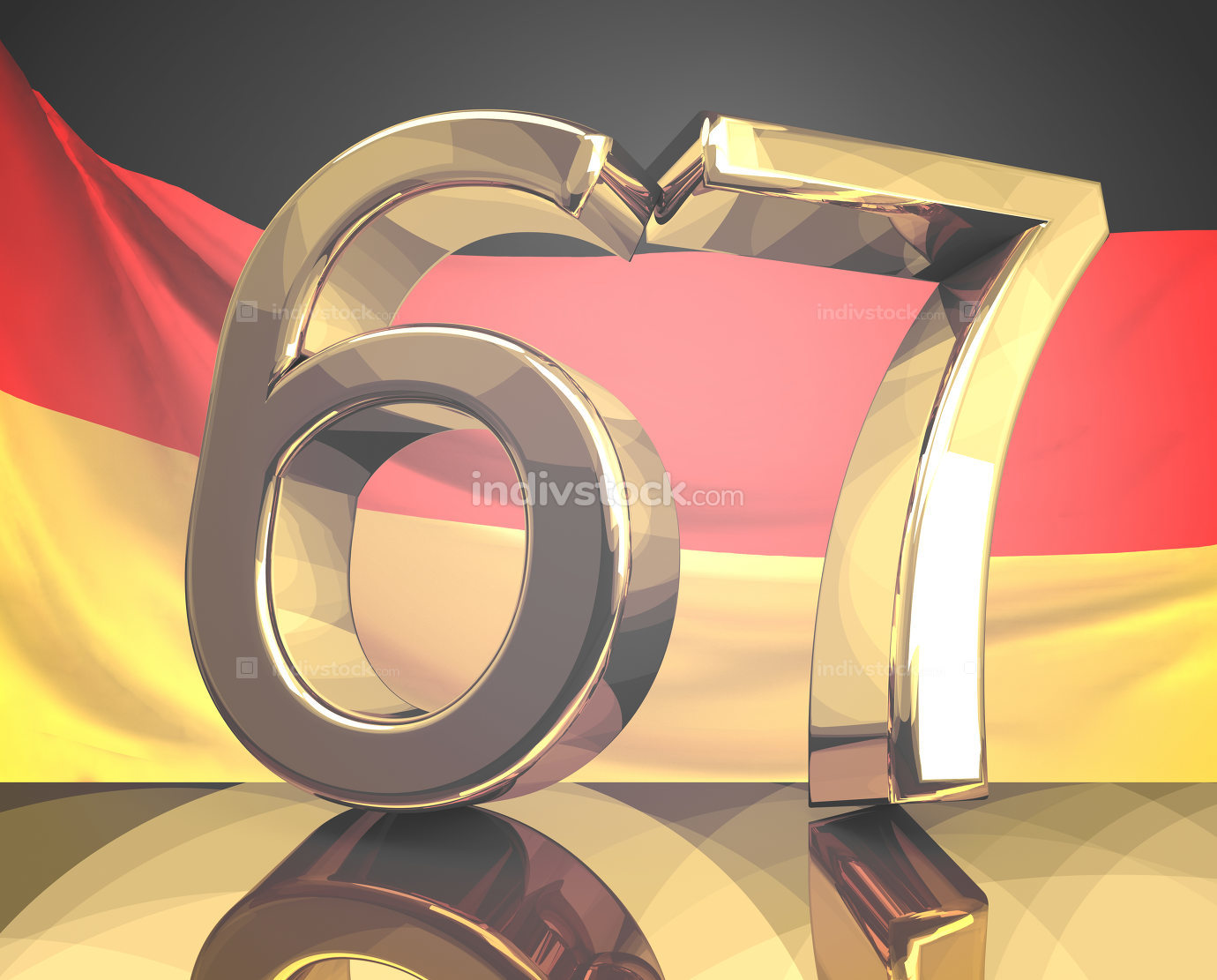 67 golden Retirement age Germany 3d rendering