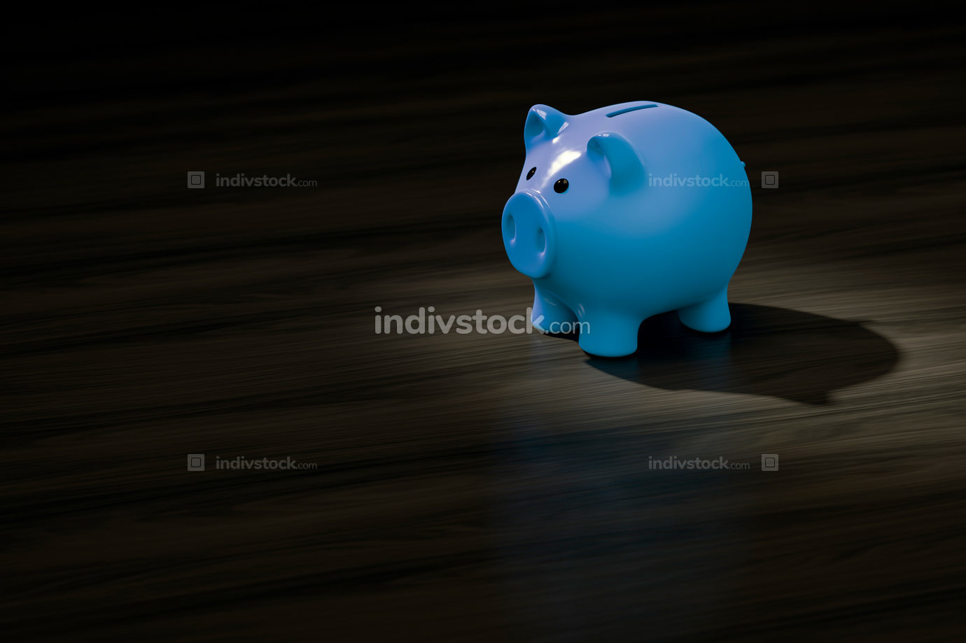 a blue piggy bank with space for your content