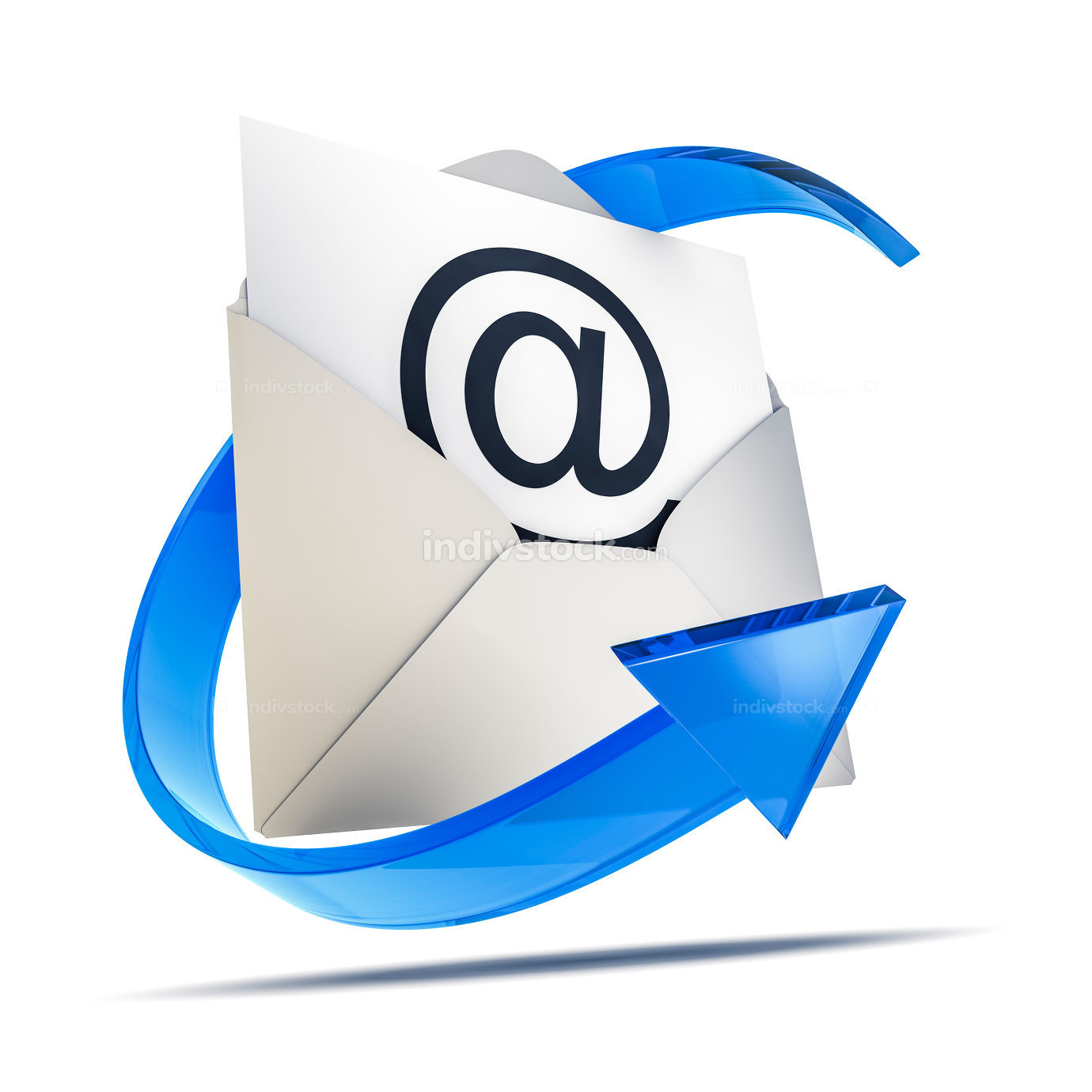 an envelope with an email sign 3d rendering