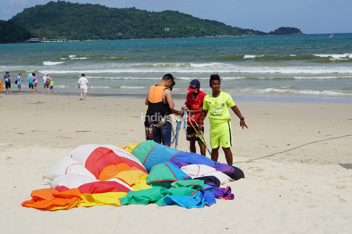 beach activities paragliding in Thailand at Patong Beach at June