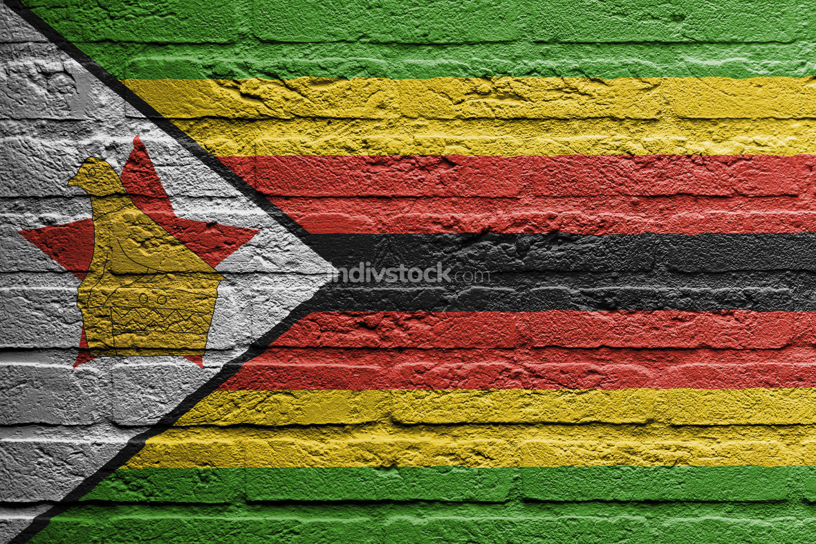 Brick wall with a painting of a flag,  Zimbabwe