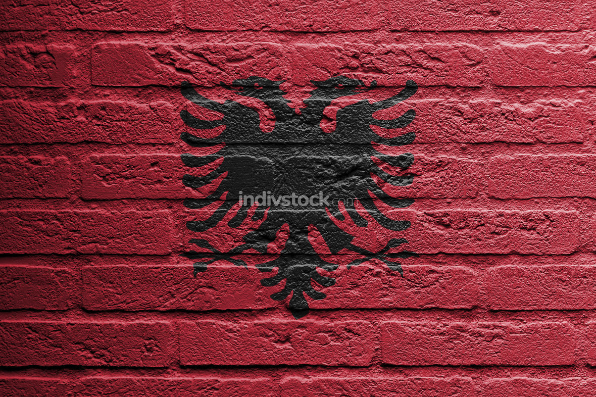 Brick wall with a painting of a flag, Albania