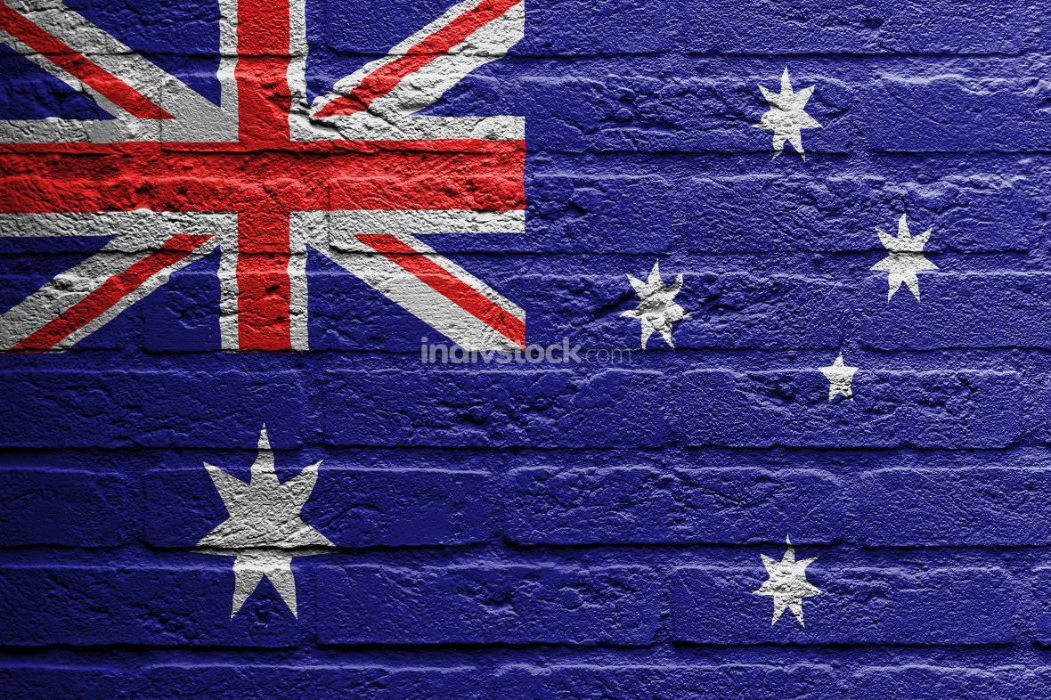 Brick wall with a painting of a flag, Australia