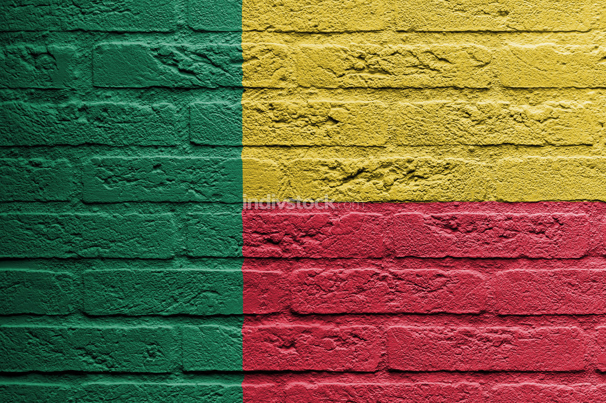 Brick wall with a painting of a flag, Benin