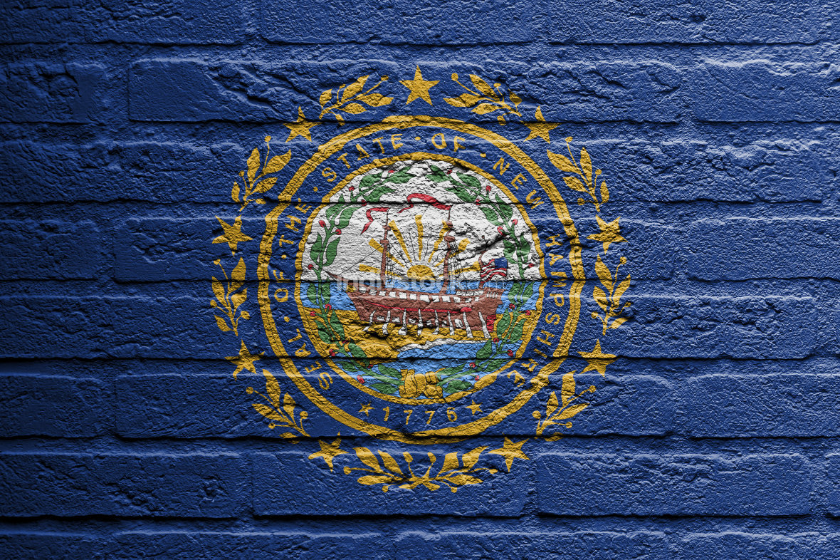 Brick wall with a painting of a flag, New Hampshire