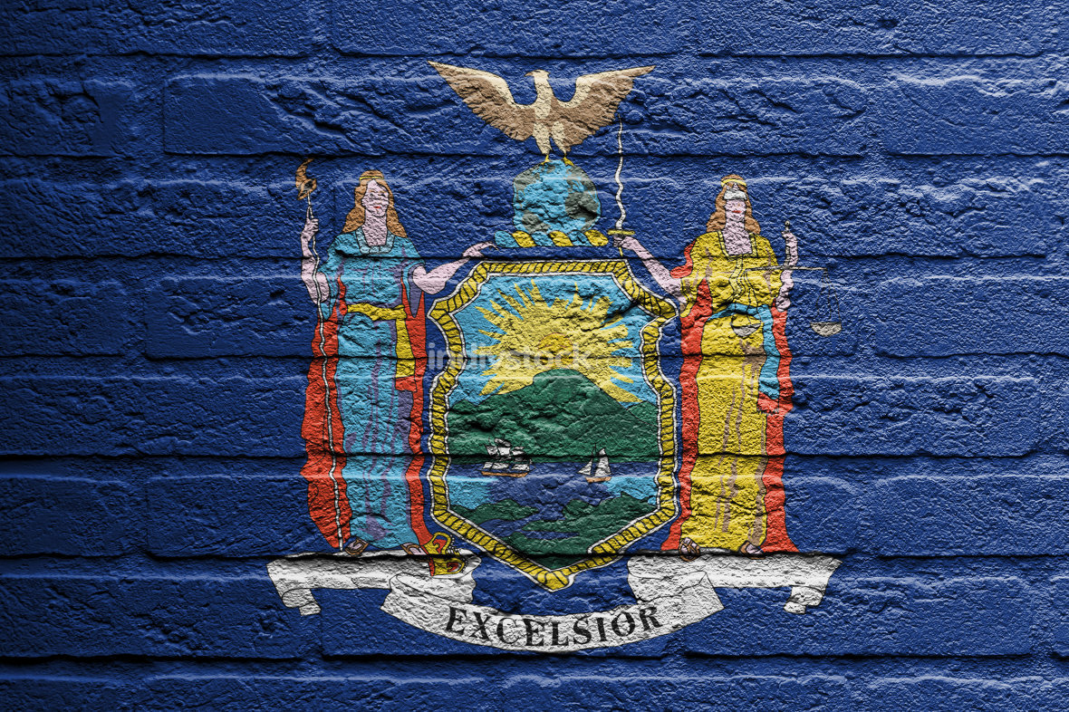 Brick wall with a painting of a flag, New York