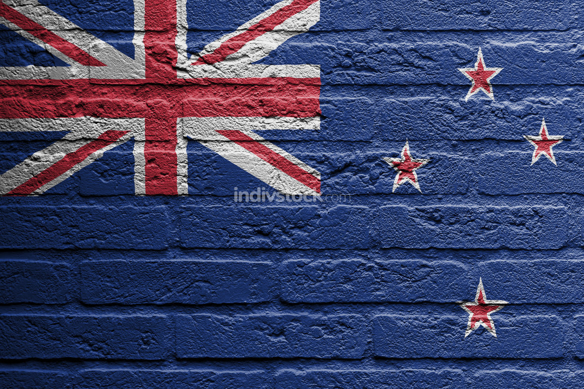 Brick wall with a painting of a flag, New Zealand