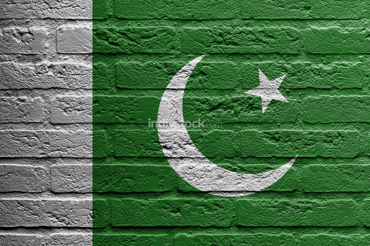 Brick wall with a painting of a flag, Pakistan