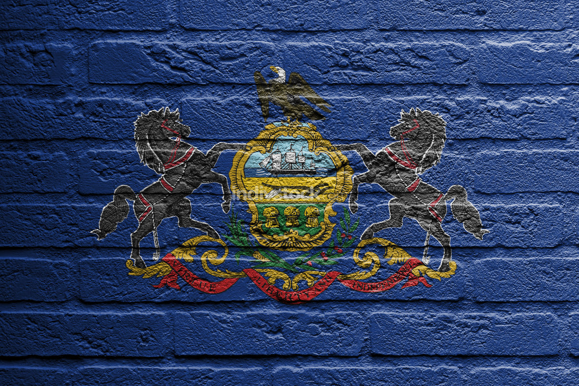 Brick wall with a painting of a flag, Pennsylvania